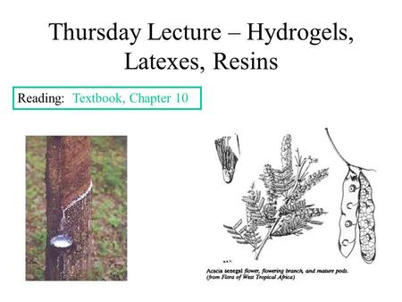 Thursday Lecture – Hydrogels, Latexes, Resins Reading: Textbook, Chapter 10.