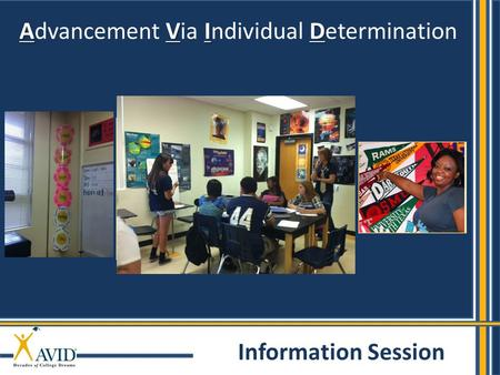 AVID Advancement Via Individual Determination Information Session.