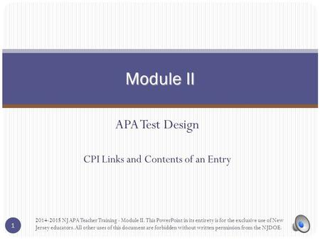APA Test Design CPI Links and Contents of an Entry