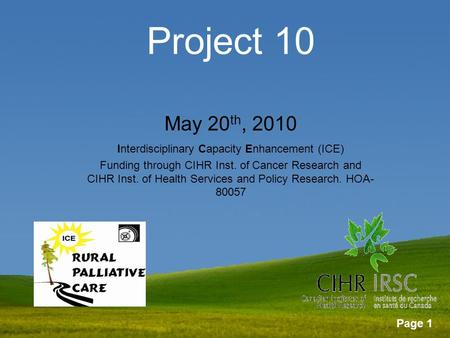 Page 1 Project 10 May 20 th, 2010 Interdisciplinary Capacity Enhancement (ICE) Funding through CIHR Inst. of Cancer Research and CIHR Inst. of Health Services.