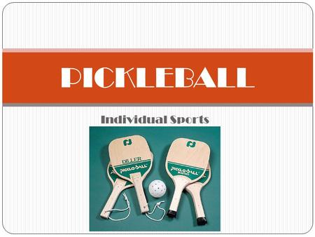 Individual Sports PICKLEBALL. National Gold Medal Match.
