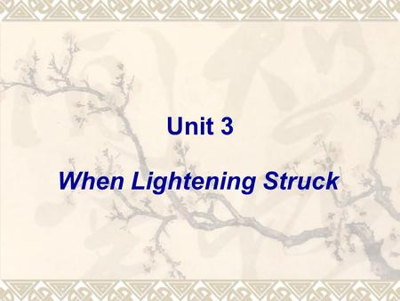Unit 3 When Lightening Struck. 1 Reading 1) Read the text, and answer the following questions: (1) What happened to the plane? (2) Why did the author.