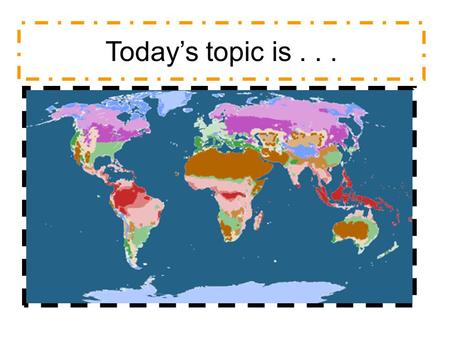 Today's topic is.... Weather Speaking about IELTS writing Today Talking about the climate Language for introducing an overall trend Reading and Language.