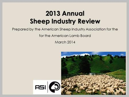 2013 Annual Sheep Industry Review Prepared by the American Sheep Industry Association for the for the American Lamb Board March 2014.