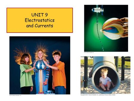 UNIT 9 Electrostatics and Currents 1. Friday March 9 th 2 Electrostatics and Currents.