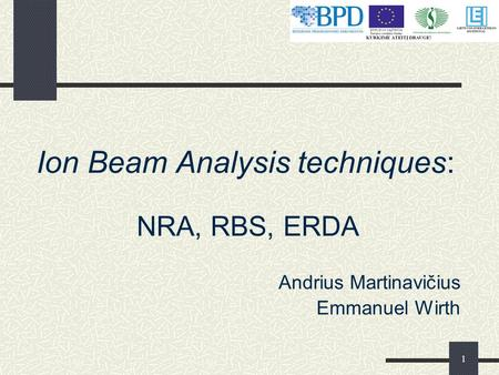 1 Ion Beam Analysis techniques: NRA, RBS, ERDA Andrius Martinavičius Emmanuel Wirth.