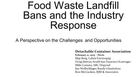 Food Waste Landfill Bans and the Industry Response
