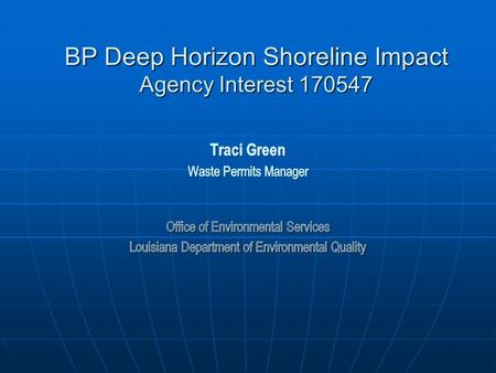 BP Deep Horizon Shoreline Impact Agency Interest 170547.