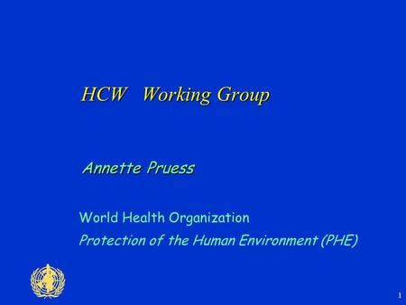 1 HCW Working Group Annette Pruess World Health Organization Protection of the Human Environment (PHE)