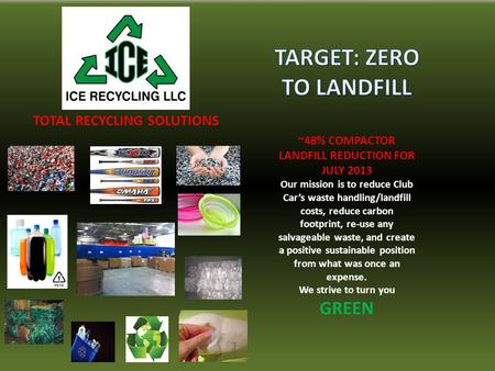 TOTAL RECYCLING SOLUTIONS ~48% COMPACTOR LANDFILL REDUCTION FOR JULY 2013 Our mission is to reduce Club Car's waste handling/landfill costs, reduce carbon.
