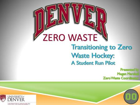 PRESENTATION OUTLINE  Define Zero Waste  Why are football & hockey different animals?  The need for something new  The start of our program  The.