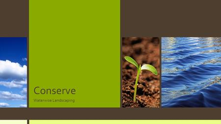 Conserve Waterwise Landscaping. Purpose of Landscaping Beauty Utility Conservation.