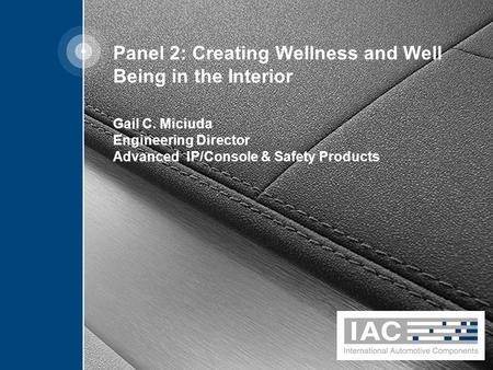 Panel 2: Creating Wellness and Well Being in the Interior Gail C. Miciuda Engineering Director Advanced IP/Console & Safety Products.