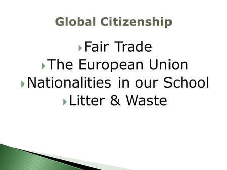  Fair Trade  The European Union  Nationalities in our School  Litter & Waste.