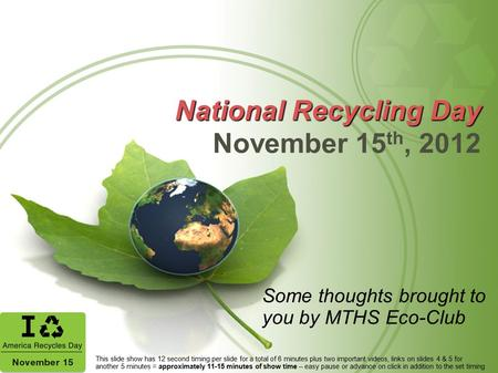 National Recycling Day November 15th, 2012