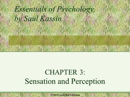 CHAPTER 3: Sensation and Perception Essentials of Psychology, by Saul Kassin ©2004 Prentice Hall Publishing.