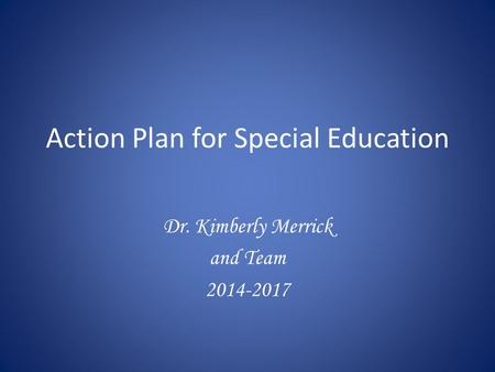 Action Plan for Special Education