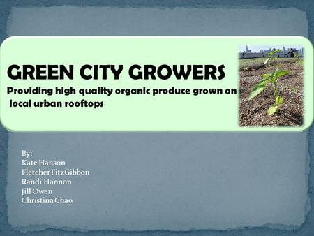GREEN CITY GROWERS Providing high quality organic produce grown on local urban rooftops By: Kate Hanson Fletcher FitzGibbon Randi Hannon Jill Owen Christina.
