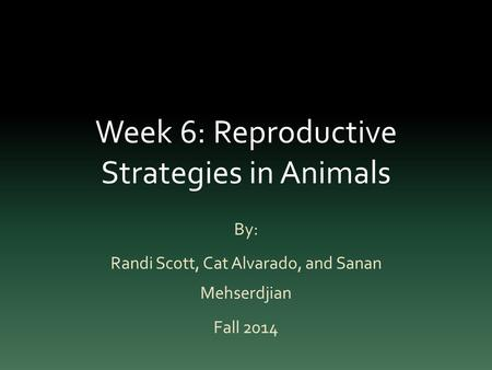Week 6: Reproductive Strategies in Animals By: Randi Scott, Cat Alvarado, and Sanan Mehserdjian Fall 2014.