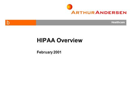 B Healthcare HIPAA Overview February 2001. 2 What is HIPAA?  HIPAA is the Health Insurance Portability and Accountability Act of 1996 (PL 104-191) 