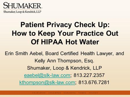 Erin Smith Aebel, Board Certified Health Lawyer, and