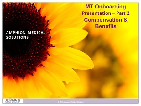 1 © 2013 Amphion Medical Solutions 1 AMPHION MEDICAL SOLUTIONS MT Onboarding Presentation – Part <strong>2</strong> Compensation & Benefits.