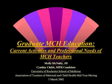 Graduate MCH Education: Current Activities and Professional Needs of MCH Teachers Molly McNulty, JD Cynthia Childs, MPH Candidate University of Rochester.