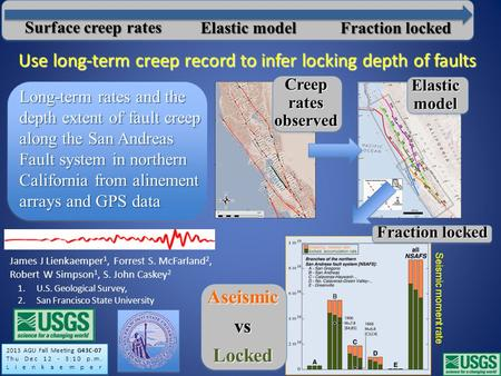 Long-term rates and the depth extent of fault creep along the San Andreas Fault system in northern California from alinement arrays and GPS data James.