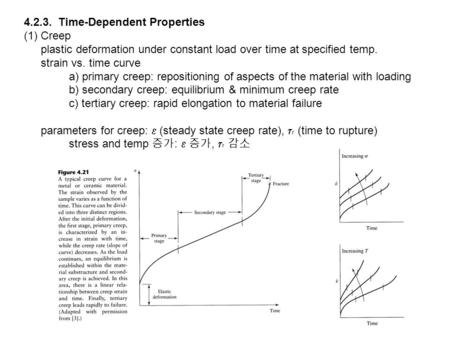4.2.3. Time-Dependent Properties (1) Creep plastic deformation under constant load over time at specified temp. strain vs. time curve a) primary creep: