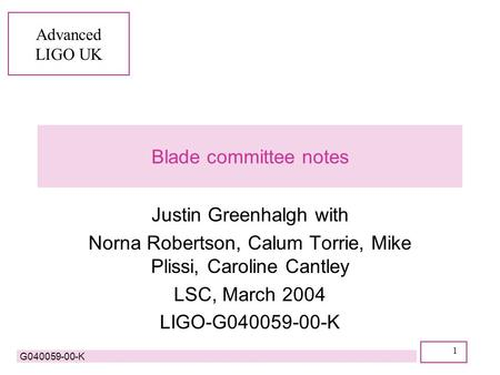 Advanced LIGO UK G040059-00-K 1 Blade committee notes Justin Greenhalgh with Norna Robertson, Calum Torrie, Mike Plissi, Caroline Cantley LSC, March 2004.