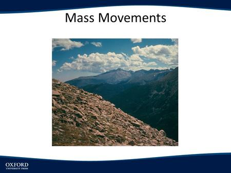Mass Movements. Introduction Explain why slopes fail under force of gravity Explain factors influencing slope failure Describe types of mass movements.