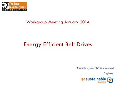 Energy Efficient Belt Drives