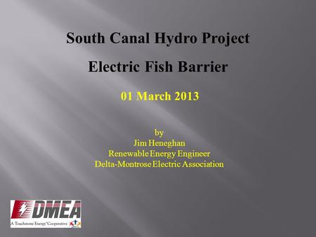 South Canal Hydro Project Electric Fish Barrier 01 March 2013 by Jim Heneghan Renewable Energy Engineer Delta-Montrose Electric Association.