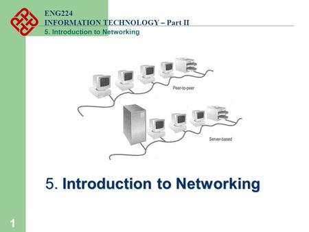 ENG224 INFORMATION TECHNOLOGY – Part II 5. Introduction to Networking 1.