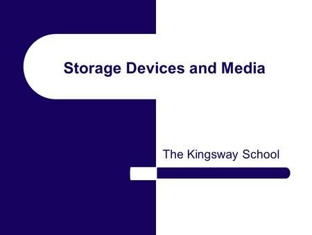 Storage Devices and Media The Kingsway School. Backing Storage Backing storage is used to keep data or programs. Different circumstances require different.