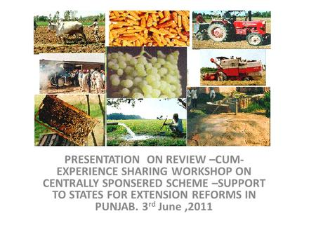 PRESENTATION ON REVIEW –CUM- EXPERIENCE SHARING WORKSHOP ON CENTRALLY SPONSERED SCHEME –SUPPORT TO STATES FOR EXTENSION REFORMS IN PUNJAB. 3 rd June,2011.