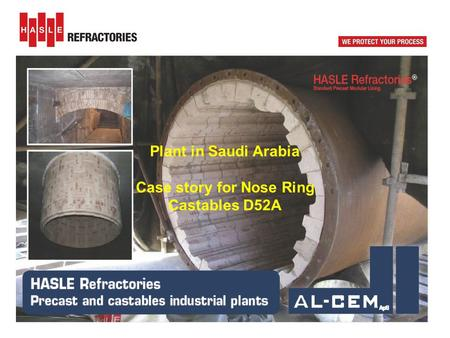Plant in Saudi Arabia Case story for Nose Ring Castables D52A.