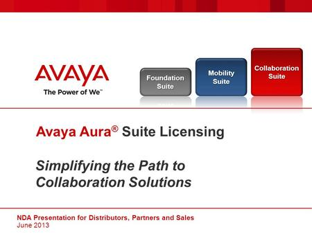 Simplifying the Path to Collaboration Solutions Avaya Aura ® Suite Licensing NDA Presentation for Distributors, Partners and Sales June 2013.