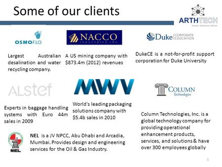 Some of our clients Largest Australian desalination and water recycling company. A US mining company with $873.4m (2012) revenues DukeCE is a not-for-profit.