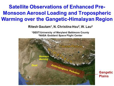 Satellite Observations of Enhanced Pre- Monsoon Aerosol Loading and Tropospheric Warming over the Gangetic-Himalayan Region Ritesh Gautam 1, N. Christina.