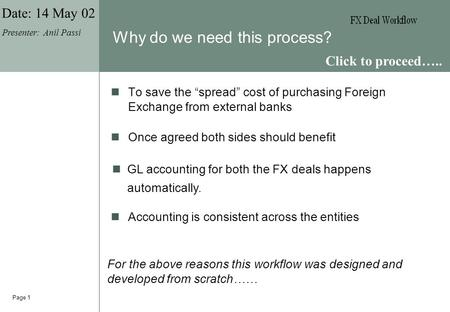 "Page 1 Why do we need this process? To save the ""spread"" cost of purchasing Foreign Exchange from external banks GL accounting for both the FX deals happens."