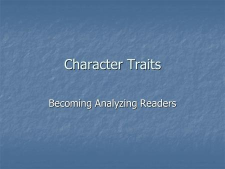 Becoming Analyzing Readers