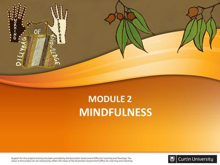 MODULE 2 MINDFULNESS. WELCOME Acknowledgement of country Facilitators introduction Housekeeping Introduce each other Introduce module.