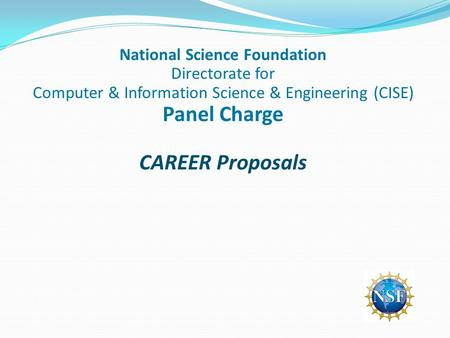 National Science Foundation Directorate for Computer & Information Science & Engineering (CISE) Panel Charge CAREER Proposals.