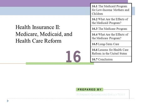 Health Insurance II: Medicare, Medicaid, and Health Care Reform F ERNANDO Q UIJANO AND S HELLY T EFFT P R E P A R E D B Y 16.1 The Medicaid Program for.