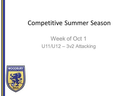 Competitive Summer Season Week of Oct 1 U11/U12 – 3v2 Attacking.