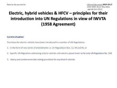 Electric, hybrid vehicles & HFCV – principles for their introduction into UN Regulations in view of IWVTA (1958 Agreement) Note by the secretariat Informal.