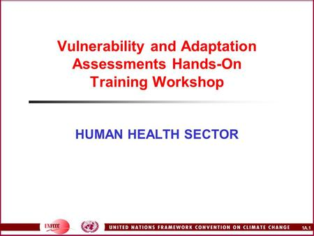 1A.1 Vulnerability and Adaptation Assessments Hands-On Training Workshop HUMAN HEALTH SECTOR.