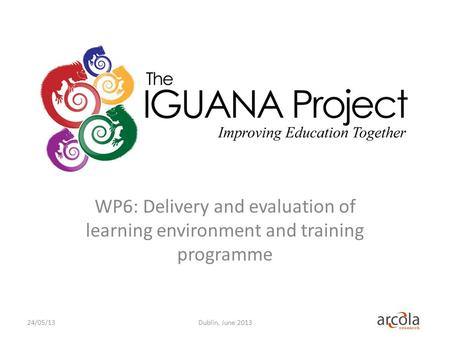 WP6: Delivery and evaluation of learning environment and training programme Dublin, June 201324/05/13.