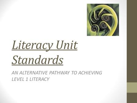 Literacy Unit Standards AN ALTERNATIVE PATHWAY TO ACHIEVING LEVEL 1 LITERACY.